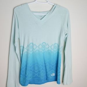 North Face Blue Long sleeve hoodie top shirt small
